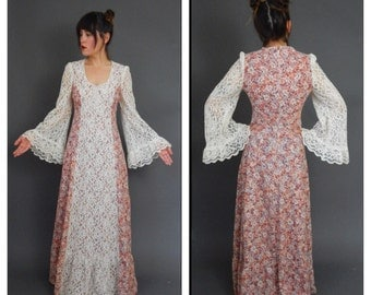Vtg 1970s gunne sax style floral and lace dress womens vintage