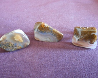 FOSSIL ? AGATE ? STONE ? Cuff Links and Tie Bar Set **Free Shipping**