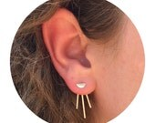 Sparkle Comet Ear Jackets and Half Moon Stud Combo - Sterling Silver - Set of Studs and Jackets - Front Back Earring Set - Thick 16 Gauge