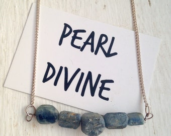 Blue Kyanite Rough Gemstone Necklace