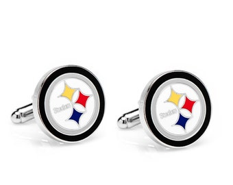 Pittsburgh Steelers Style Cufflinks Cuff Links Best man Groomsmen Wedding Gift Father's Day Graduation Dad Birthday Football