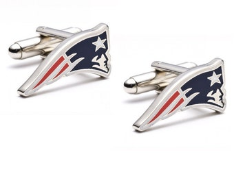 New England Patriots Cufflinks Cuff Links Best man Groomsmen Wedding Gift Father's Day Graduation Dad Birthday Football