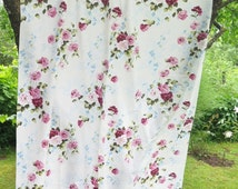 Vintage Floral Curtain, Vintage Cotton Curtain with Pink Red Roses Blue Flowers 199 x147 cm/ 78,3 x57,8'' Country Style Shabby Chic #3-01
