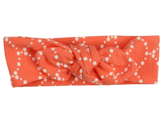 Coral and Cream Baby Top Knot Headband Coral Adult Knot Headband Baby Headwrap Knotted Headband Knotted Headwrap Coral and Cream Headband