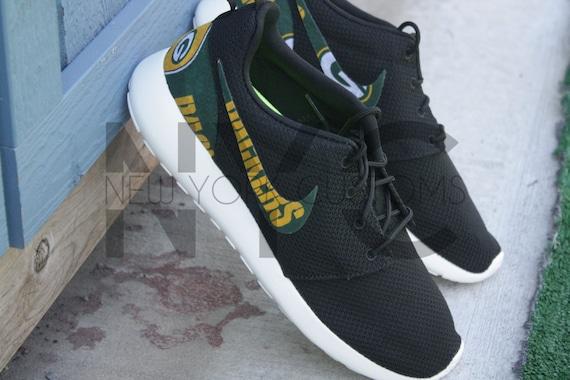 info for 29886 35995 ... nike roshe run black white green bay packers football custom men women  . ...