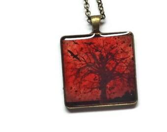 Creepy, Dead Trees Gothic Style Pendant Necklace