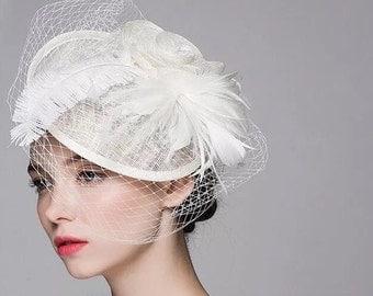 Wedding floral fascinator beige fascinator/ Vintage Wedding Bridal Hair Accessories Flower Feather Tulle Birdcage Veil Headpiece
