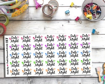 117 - Date Night (35 - Matte Or Glossy Stickers), Planner Stickers, Date Night, Stickers, ECLP, Filofax, Plum Paper Planner