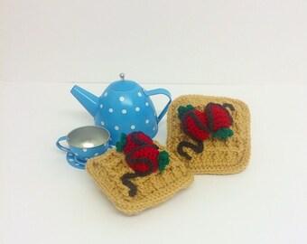 Play Food Crochet Belgian Waffle, Gift, Amigurumi