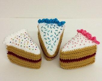 Play Food Crochet Cake Slices Set of 3, Gift, Amigurumi