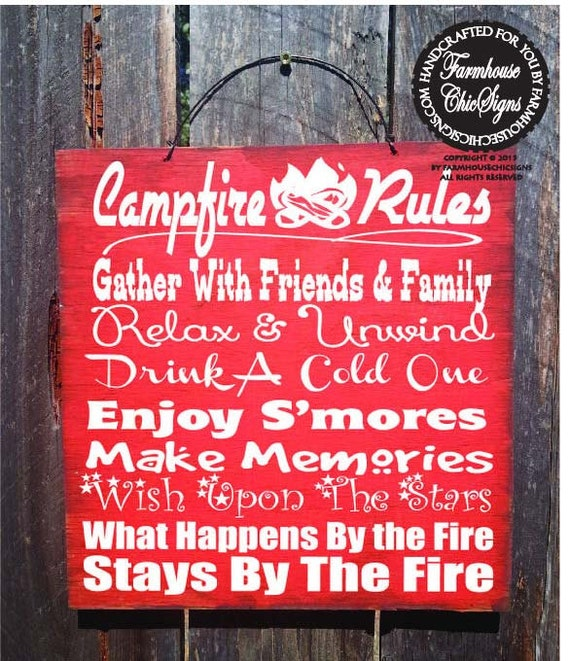 campfire sign, camping decor, camping sign, camp decor, camping, camper sign, campfire decor, campfire rules sign