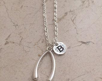 KIDS SIZE -Wishbone initial necklace , wishbone jewelry, lucky wishbone necklace, wish jewelry, silver wishbone necklace
