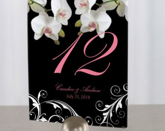 Personalized Wedding Table Numbers - Classic Orchid Design Table Numbers - Custom Wedding Table Numbers - Wedding Sign - Wedding Signage
