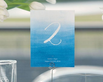 Personalized Wedding Table Numbers - Water Color Table Numbers - Aqueous Table Numbers - Custom Wedding Table Numbers - Unique
