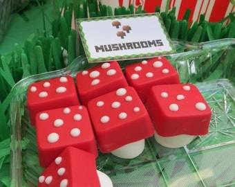 12 Minecraft inspired choco MARSHMALLOW MUSHROOMS - video game - birthday boy - party favors - minecraft- fairy - mario bros -