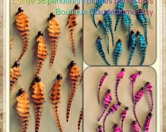 Wood set of 36 beads feather pendants