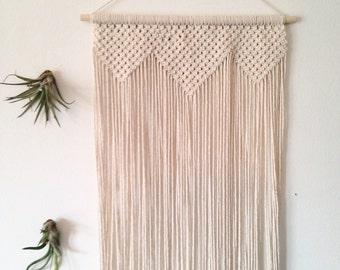"Macrame wall hanging, Chunky geometric triangle shapes. Long wall hanging. Large macrame. ""Song Sparrow: Overture"" Item #21"