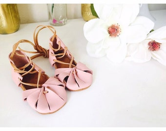 Baby girl shoes toddler girl shoes infant shoes soft soled shoes lace up shoes pink shoes baby girl gladiator sandals - Kleopatras baby pink