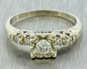 1930s Antique Art Deco Estate 14k White Gold 0.50ctw Diamond Fishtail Engagement Ring