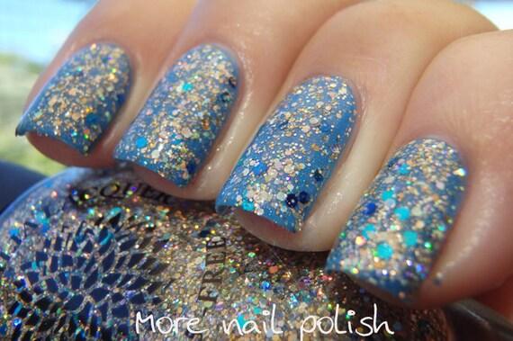 Silver Glitter Nail Polish with Gold, Aqua & Navy Blue Glitter ...