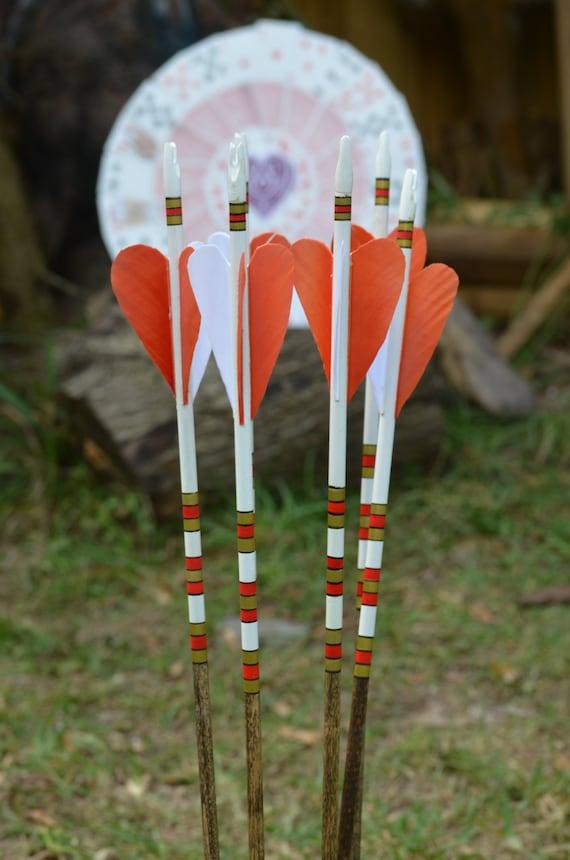 """Archery Arrows, Wood arrows, set of 6 unique """"Ace of Hearts"""" arrows"""