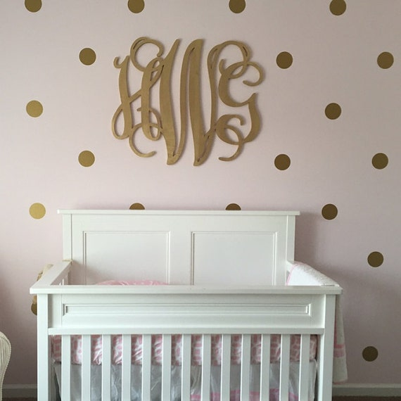 Wooden Letters Gold Paint Monogram Large Wood Monogram Home