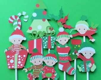 Christmas cupcake toppers, 11 Christmas baby toppers, Christmas toppers, Santa topper, baby shower Christmas, Santa baby toppers