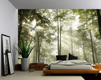 Forest Tree Rays Of Light   Large Wall Mural, Self Adhesive Vinyl Wallpaper, Part 19