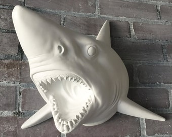 ANY COLOR Shark Head Wall Mount // Faux Taxidermy // Wall Sculpture // Nautical Decor // Animal Head // Shark Week // Trophy Mount