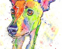 Whippet Lurcher Greyhound Dog Print of Original Watercolour Painting Watercolor Animal Hound Sighthound Picture Art 5 sizes SEE DETAILS