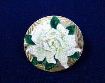 Vintage hand painted brooch rose flower brooch pin