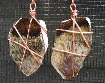 Brown and cream pottery shard dangle earrings