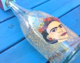 Dia de Los Muertos (Day of the Dead) Frida Kahlo decanter OOAK