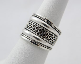 Bali Style Sterling Silver  Wide Band Ring