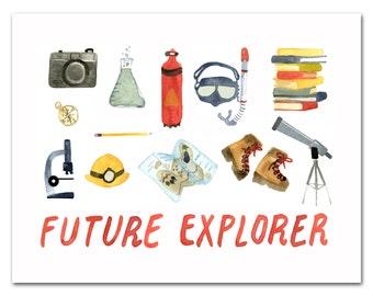 Future Explorer Art Print, Nursery Art, Child's Room, Science Art Print, Adventure, by Little Truths Studio