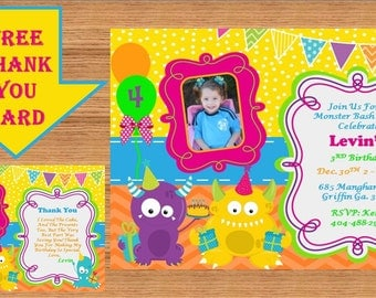Monster Invitations, Monster Birthday, Monster Birthday Invitations, Monster Invites, Monster Birthday Party, Thank You Cards #Monsters 0002