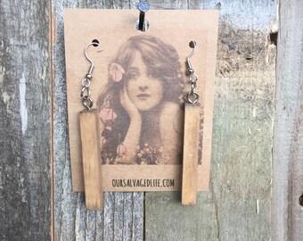 Wooden drop down earrings - handmade jewelry - rustic - dangle - boho