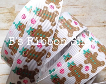 """7/8"""" Holly Jolly Gingerbread with bow and glitter USDR 1 yard"""