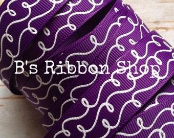 "7/8"" Dark Purple with White Glitter Doodles USDR 1 yard grosgrain ribbon fall autumn"