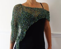 PDF Pattern - Party Glitter Wrap, Asymmetrical Loose Metallic Knit Evening Poncho,See-through Shoulders Cover up