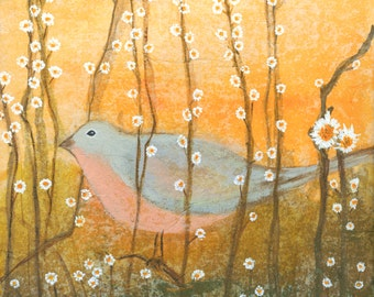 Birds With Flowers 2.  Giclee Print on Canvas