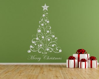 Christmas Tree & Baubles self adhesive vinyl decal sticker for walls, windows and mirrors.(#61)