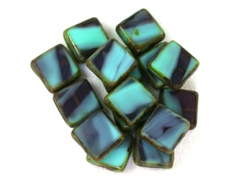 Aqua opaque Purple transparent w/ picasso table cut 10mm square tile beads. Set of 8, 15 or 30.