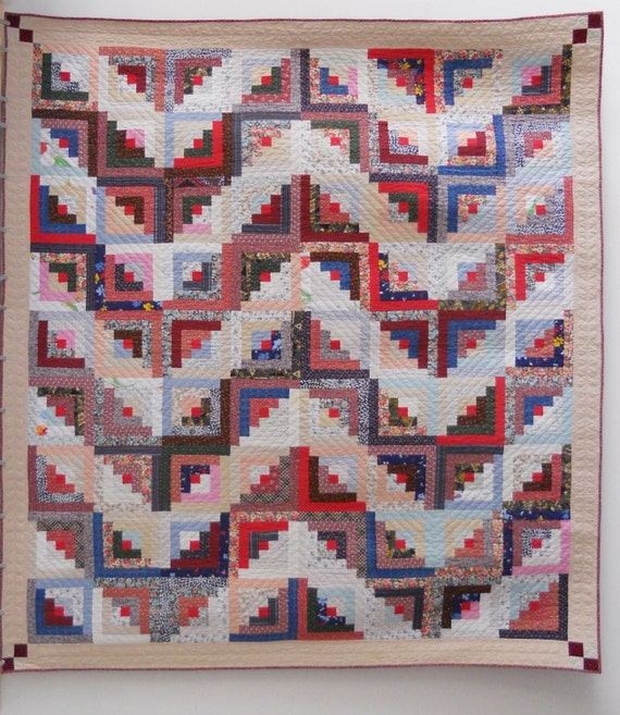 Log Cabin Quilt Pattern Free Queen Size : Items similar to Log cabin quilt. Queen size quilt. Scrap quilt. Hand quilted. 90