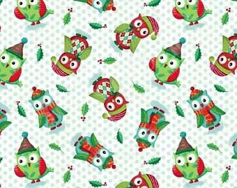SPX Fabrics Owl Be Home for Xmas Owls Green (Half metre)