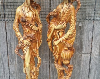 large 18 inch vintage resin Asian couple Italian made