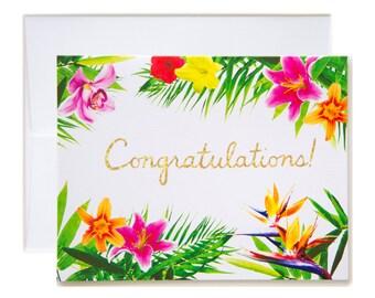 Tropical Floral Congratulations! Card