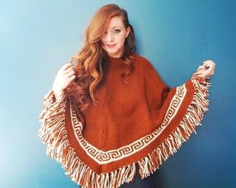 Vintage Brown and White Poncho |  Fringe | Bohemian