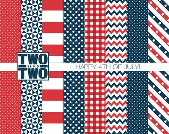 """Fourth of July Digital Paper: """"HAPPY 4th!"""" with Striped, Star, Gingham, Chevron, and Polka Dot Patterns in Red, White, and Blue"""