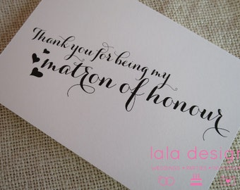 Thank You Matron of Honor - Attendant Card